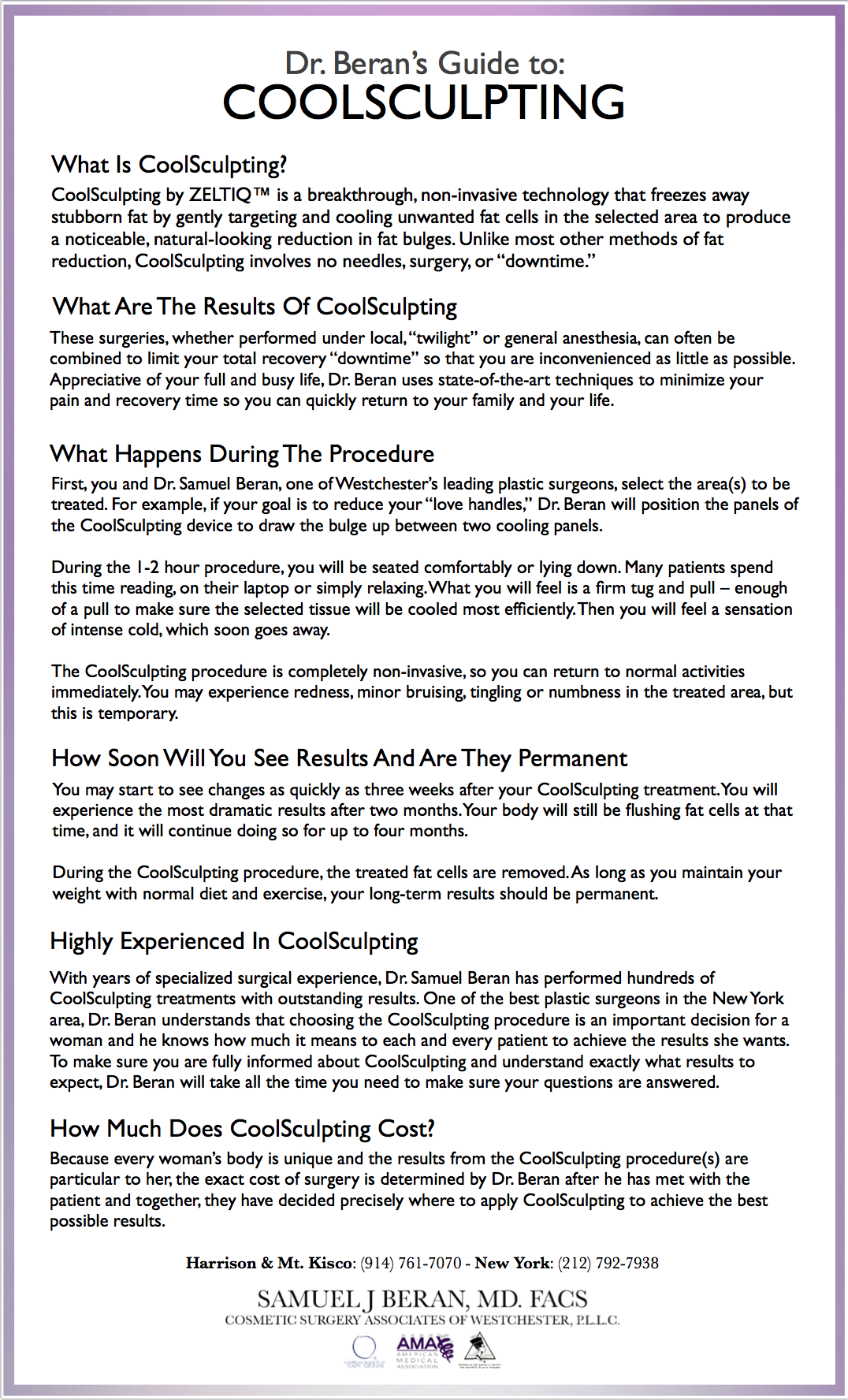 Coolsculpting Info Sheet